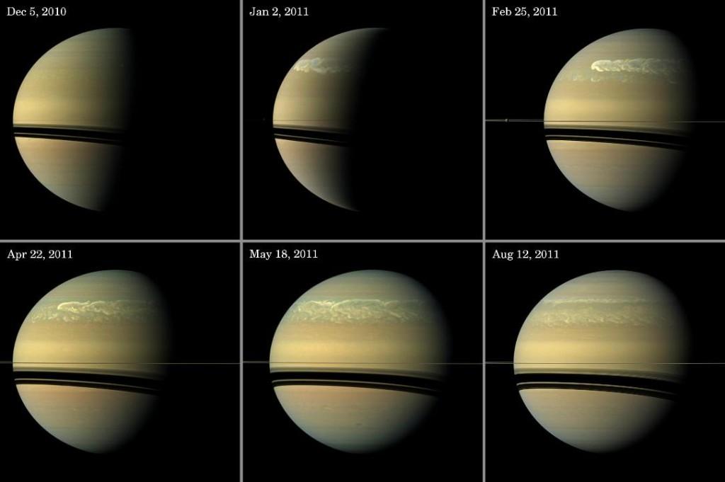این سری از تصاویر توسعه و حرکت طوفان سفید و بزرگ زحل را از اواخر سال 2010 تا اواسط 2011، نشان میدهد.