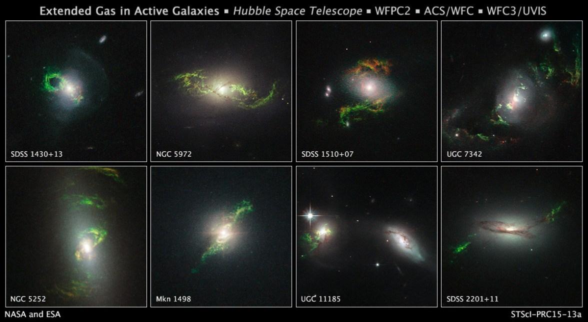 این تصاویر تلسکوپ فضایی هابل مجموعه ای از 8 کهکشان فعال با حلقه های سبز و مارپیچ را نشان می دهد که تصور می شود در اثر فعالیت های اختروش ها ایجاد شده اند.
