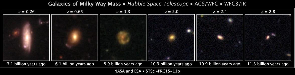 شش عکس از کهکشان هایی که متشابه کهکشان راه شیری هستند و تکامل کهکشان ما را به مرور زمان نشان می دهند.