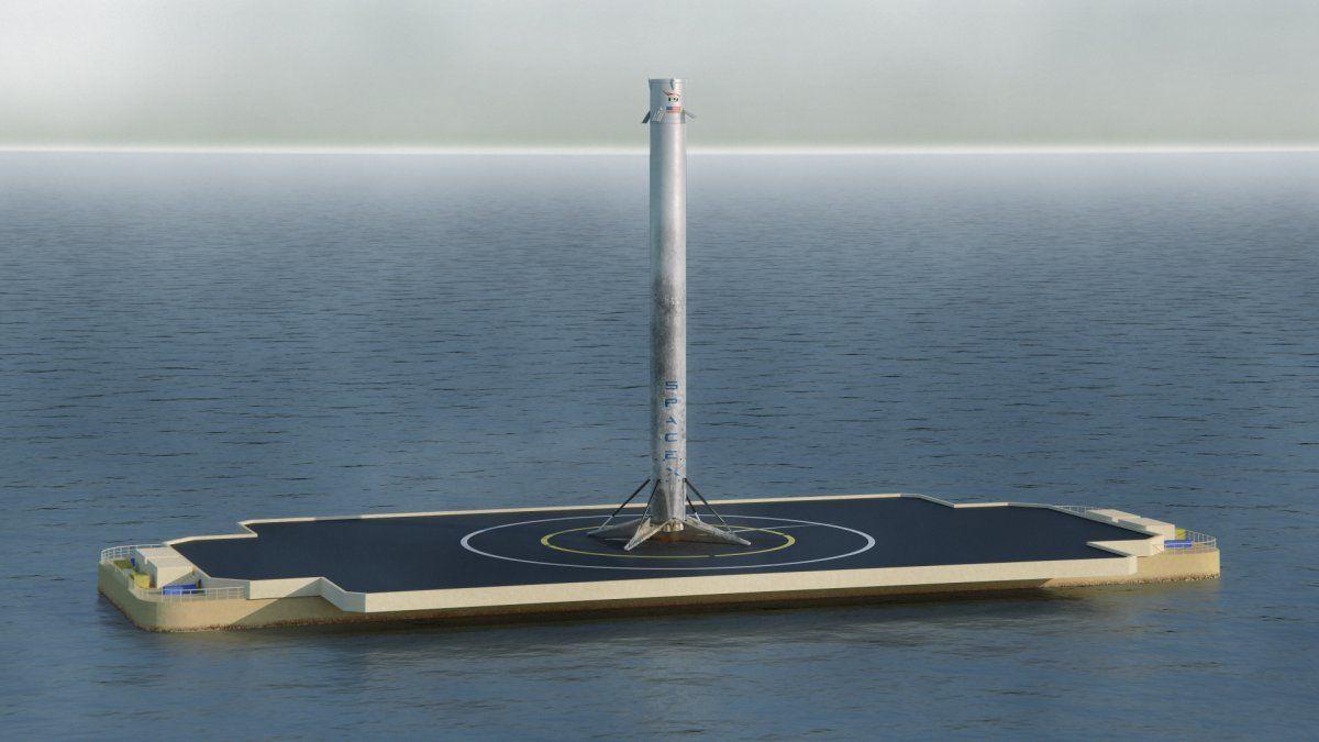 سکوی فرودی که موشک آن را لمس کرد، اما واژگونی موشک موجب شد ماموریت ناموفق شود.