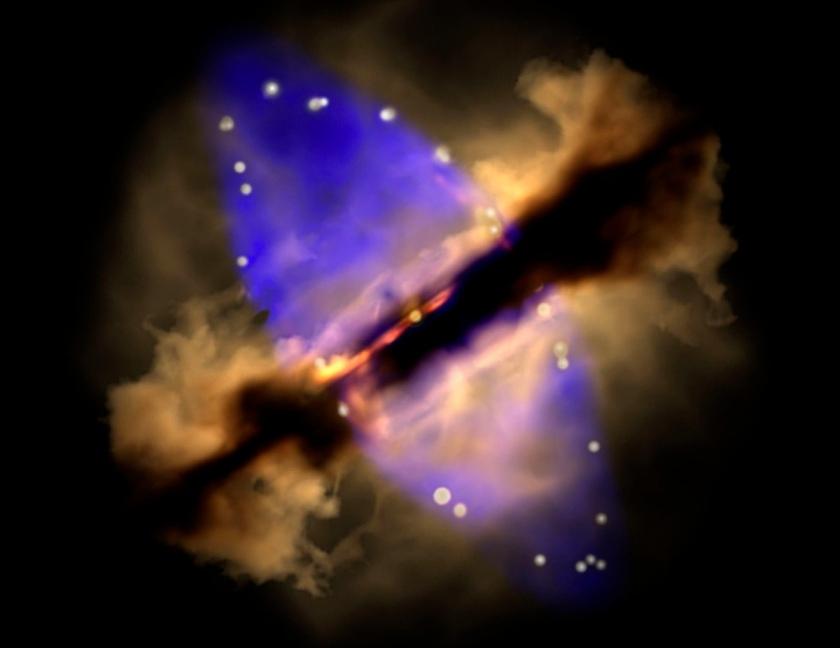 در این تصویر شبیه سازی شده، داده های مربوط به سال 2014 از حلقه ی گرد و غبار گسترش یابنده این ستاره نشان داده شده است.