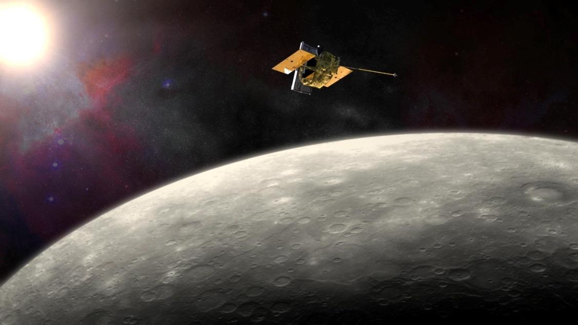 تصویری هنری از فضاپیمای مسنجر در مدار سیاره ی عطارد که به پایان ماموریت خود نزدیک می شود.