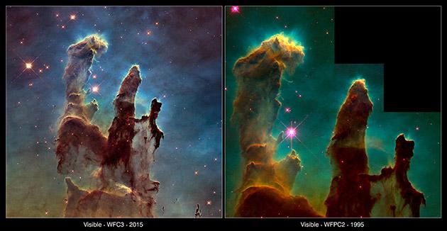 """عکسی از سحابی """"ستون های آفرینش"""" که در سال 1995 و 2015 توسط تلسکوپ هابل ثبت شده اند."""