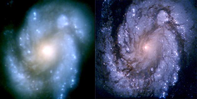 این تصویر کهکشان مارپیچی M100 را قبل و بعد از تعمیر تلسکوپ هابل نشان می دهد که تصویر سمت راست از وضوح بیشتری برخوردار است.