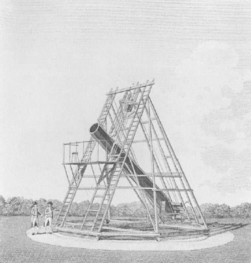 تلسکوپ 20 فوتی ولیلام هرشل با دهانهی 18.8 اینچ (f/12.8)، سال 1784 (از انتشارات تاریخ علم، کمبریج، انگلستان)