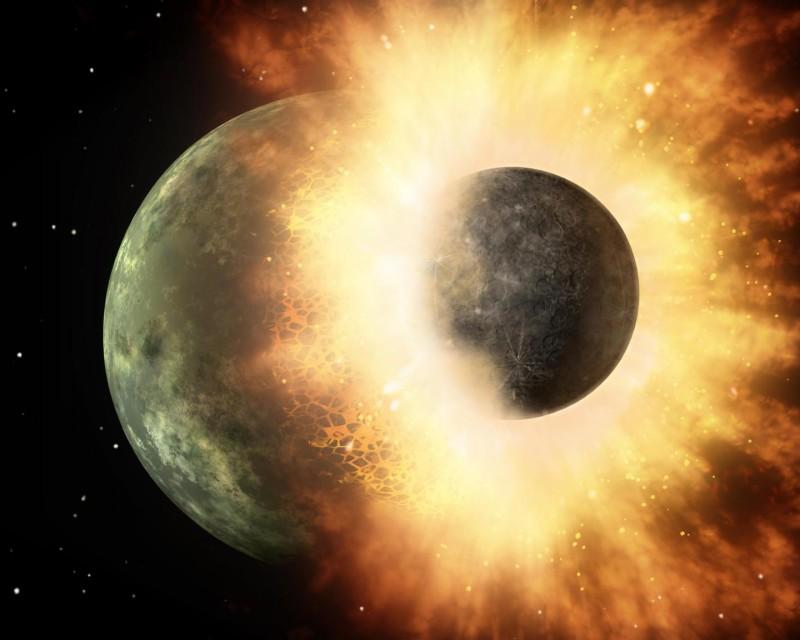 این نمای هنری برخورد میان دو جرم سیاره ای را نشان می دهد. به باور دانشمندان، کره ی ماه در پی یک چنین برخوردی که ۱۵۰ میلیون سال پس از پیدایش سامانه ی خورشیدی، میان زمین و یک جرم دیگر رخ داد پدید آمده است.