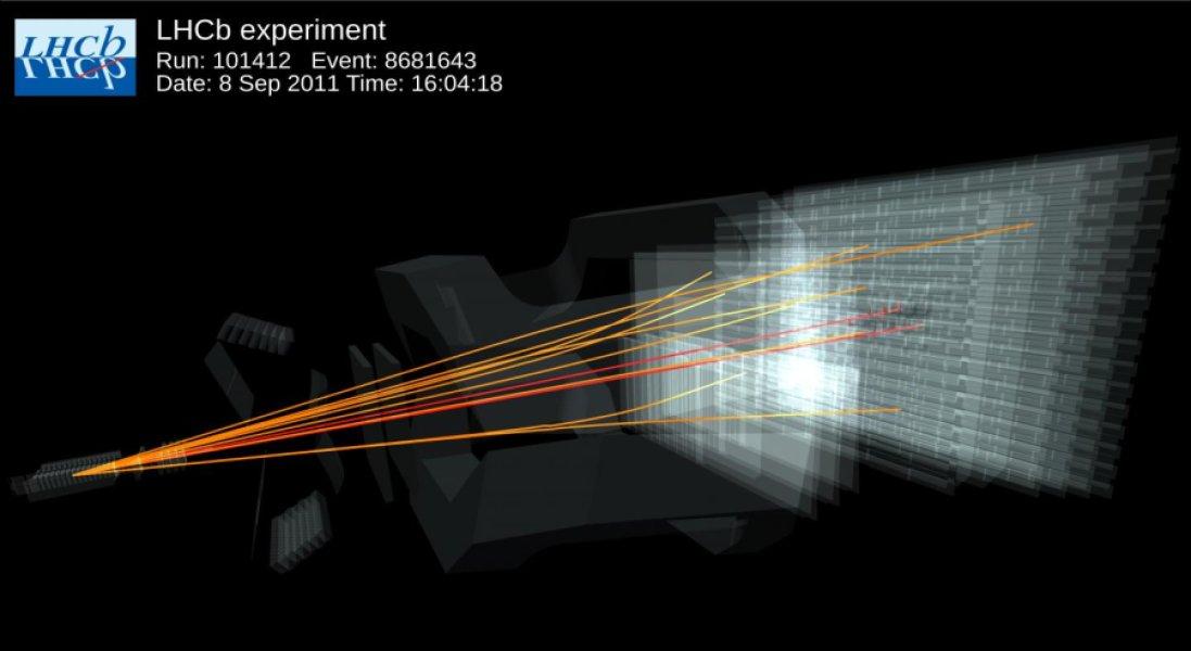 در این تصویر الگویی از آزمایش LHCb در برخورد دهنده بزرگ هادرون را می بینید، که تاکنون دیده نشده و در هر یک میلیارد بار تنها چهار بار به وقوع می پیوندد.