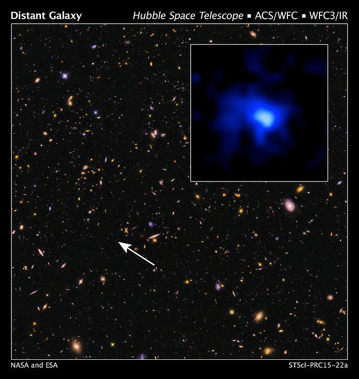 تصویری از کهکشان EGS-zs8-1 در میان کهکشان های دور دست دیگر