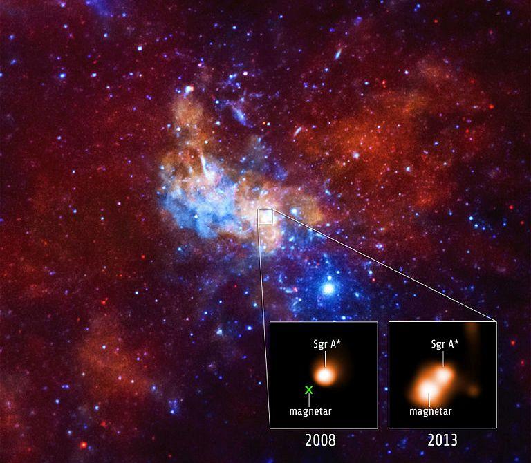 تصویری از فعالیت های سیاهچاله ی مرکزی راه شیری با نام کمان – ای* در سال ۲۰۰۸ و ۲۰۱۳