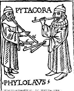 طرحی قدیمی که در آن هنرمند، فیلولائوس و فیثاغورس را در حال کشف هارمونی موسیقی تصور کردهاست.
