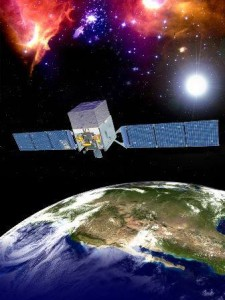 تصویری هنری از تلسکوپ فضایی پرتو گامای فرمی در مدار زمین