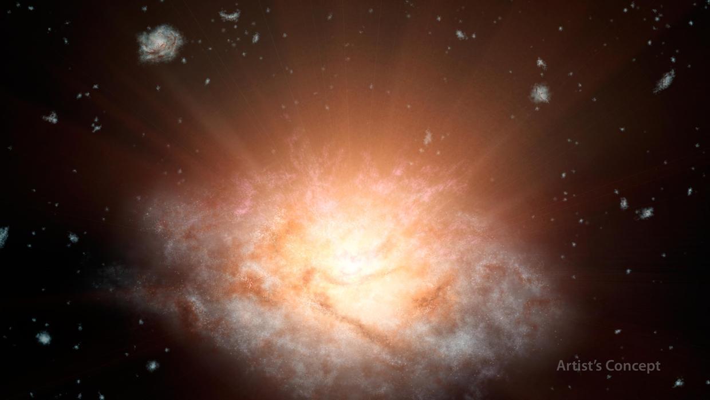 تصویری هنری از هسته ی درخشان کهکشان Wise J224607.57-052635.0