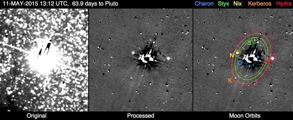 در این تصویر درخشش پلوتو و قمرهایش را مشاهده می کنید که با 10 ثانیه نوردهی دوربین شناساگر فواصل دور این فضاپیما به ثبت رسیده است.
