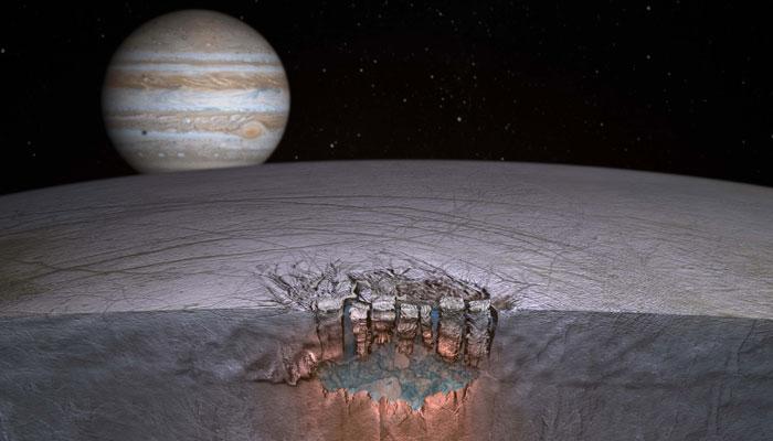 تصویری هنری از قمر اروپا در نمایی از سیاره ی مشتری