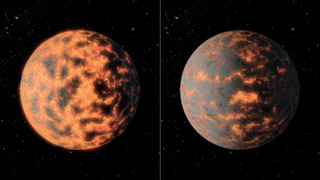 تصویری هنری از سیاره ی 55 Cancri e که تصور می شود از آتشفشان های فعال برخوردار باشد.