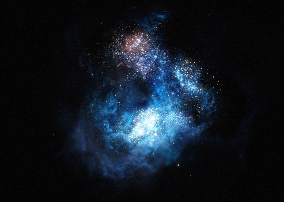 تصویری هنری از درخشش کهکشان CR7 در جهان نخستین