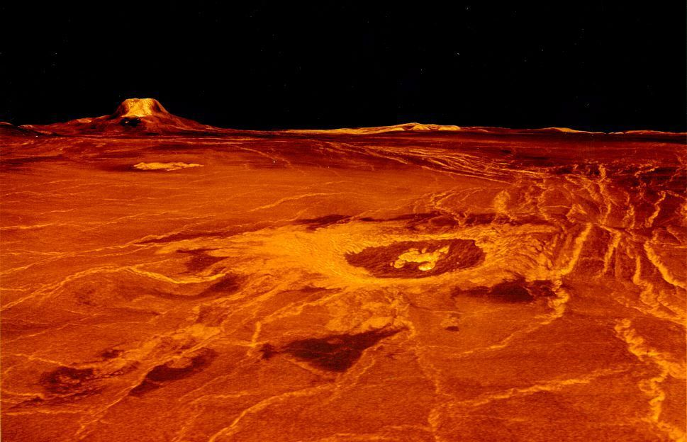 تصویر بازسازی شده ی کامپیوتری از آتشفشان های سطح ناهید