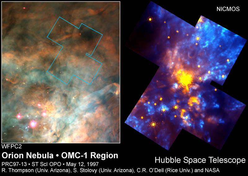 دو تصویر در طول موج های مرئی (راست) و مادن قرمز (چپ) از گروهی از ستارگان نوباوه در سحابی جبار. همانگونه که مشهود است در نور مرئی حتی یک تلسکوپ مرئی عظیم الجثه و حساس نیز نمی تواند ستارگان جدید را تشخیص دهد؛ در حالیکه یک تلسکوپ مادون قرمز با نفوذ در پیله غباری ستاره، چنین قابلیتی را دارد
