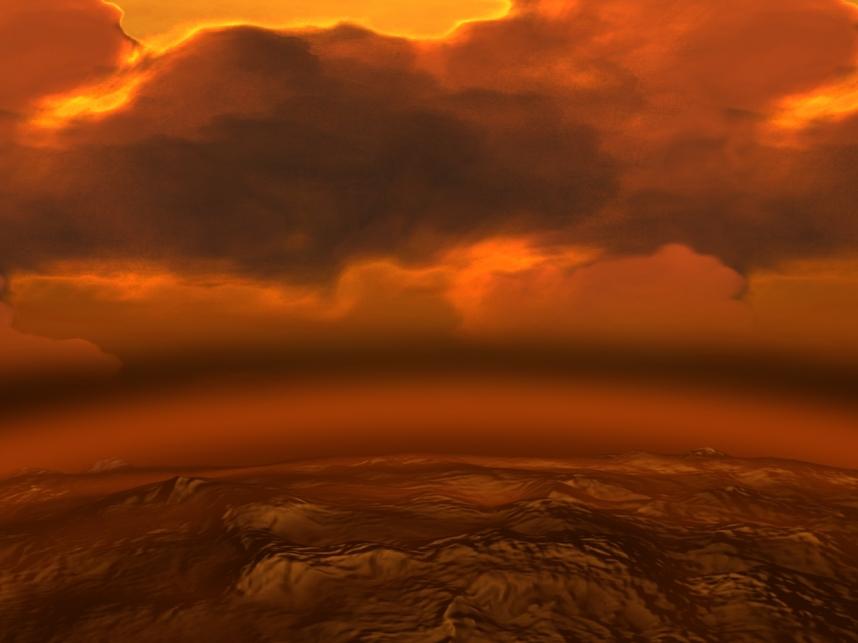 تصویری هنری از جو ضخیم و آسمان قرمز- قهوه ای سیاره ی ناهید