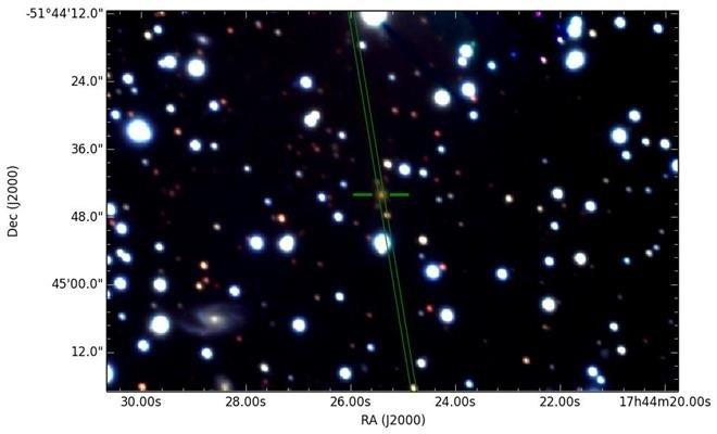 تصویری از نور کهکشان رادیویی PKS B1740-517، که با استفاده از تلسکوپ جمینی جنوبی بدست آمده است.