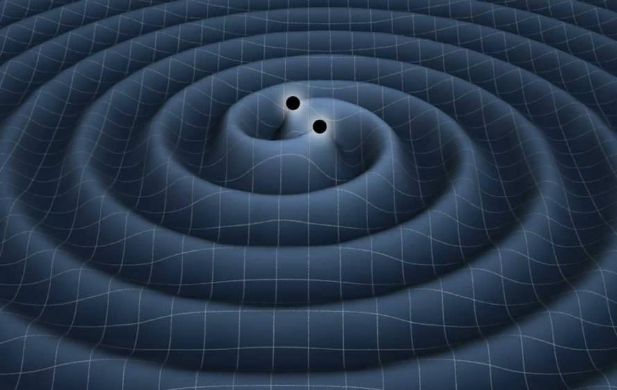 تصویری هنری از امواج گرانشی پدید آمده توسط دو سیاهچاله ای که به دور هم می چرخند.