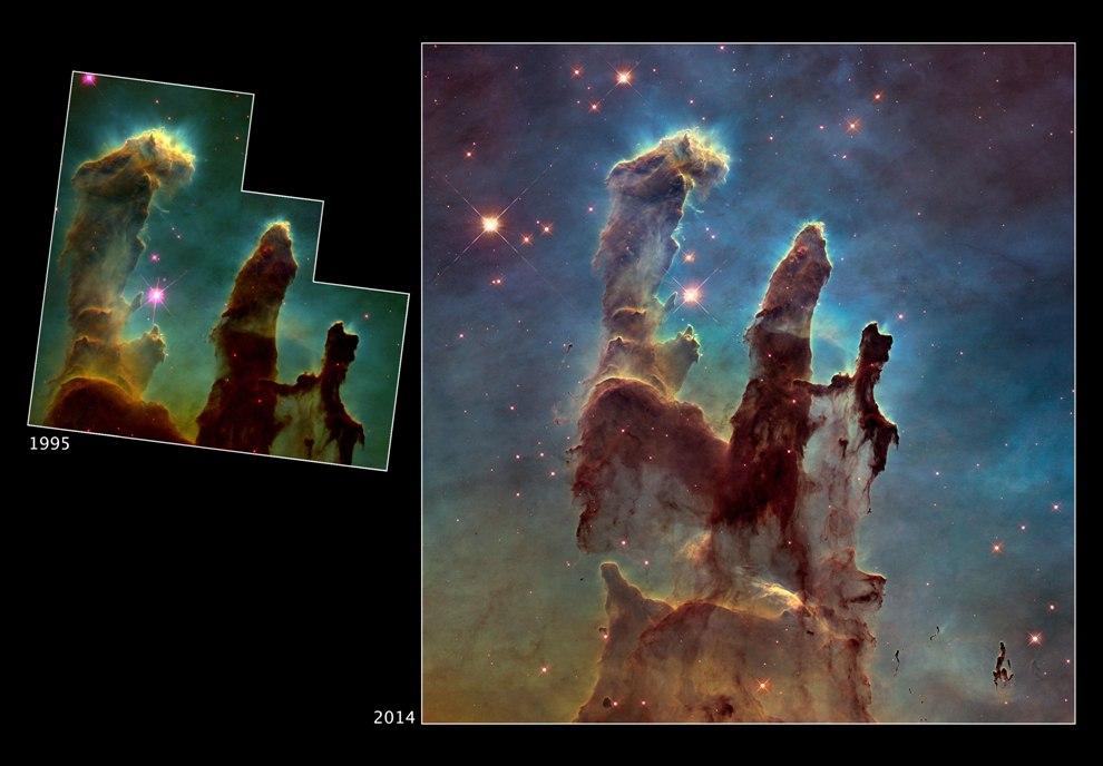 """تصویری از """"ستون های آفرینش"""" در سحابی عقاب (M16) که محلی برای تولد ستارگان جدید میباشد."""