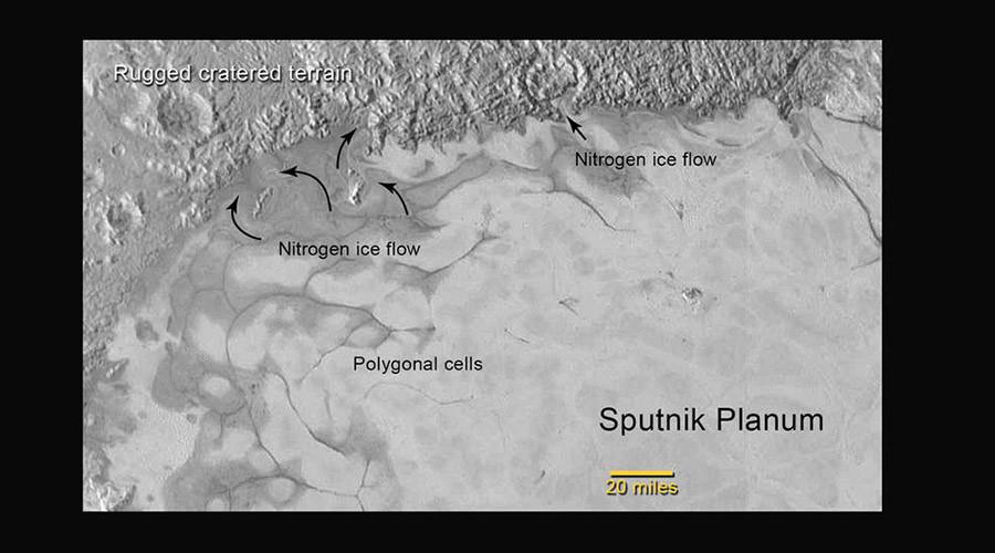 """تصویری از لایه های یخ و کوه در منطقه ی شمالی دشت """"اسپوتنیک"""" بر سطح پلوتو"""