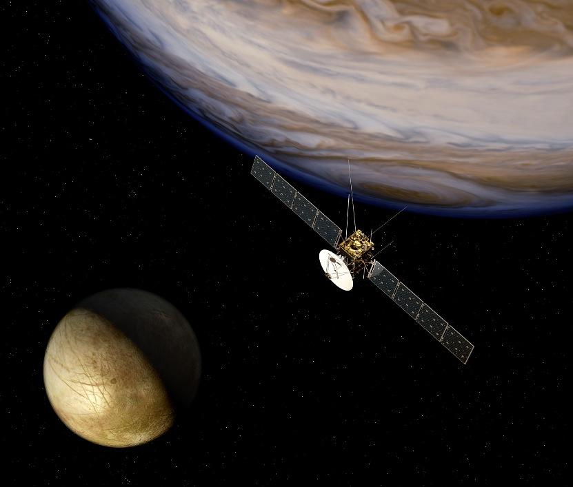 تصویری هنری از فضاپیمای جویس در مدار مشتری