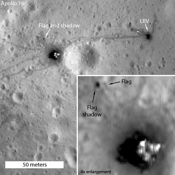 تصویری از محل فرود ماموریت آپولو 16 در ماه و اثراتی از پرچم امریکا که توسط مدارگرد LRO ثبت شده است.