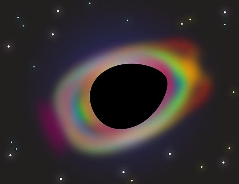 شکل1: بر طبق «قضیه بیمویی» در نسبیت عام ، سیاهچالههای استاتیک و منزوی میتوانند به طور کامل توسط دو عدد جرم و تکانه زاویهای توصیف شوند. نورمن کرلبک اکنون نشان داه است که تحت فرضهای خاصی همچنان قضیه بیمویی برای سیاهچالههایی که منزوی نیستند برای مثال احاطه شده توسط قرص ماده، نیز برقرار خواهد