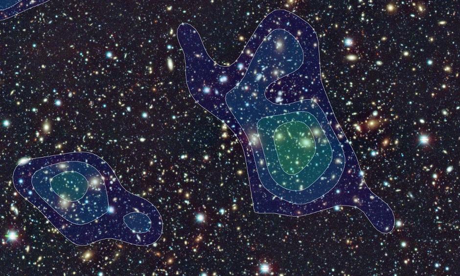 تصویری از توزیع ماده ی تاریک در این پژوهش - عکس از تلسکوپ سوبارو در هاوایی