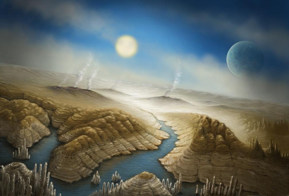 تصویری هنری از سیاره ی کپلر-۴۵۲بی که به پسر عموی زمین معروف است.