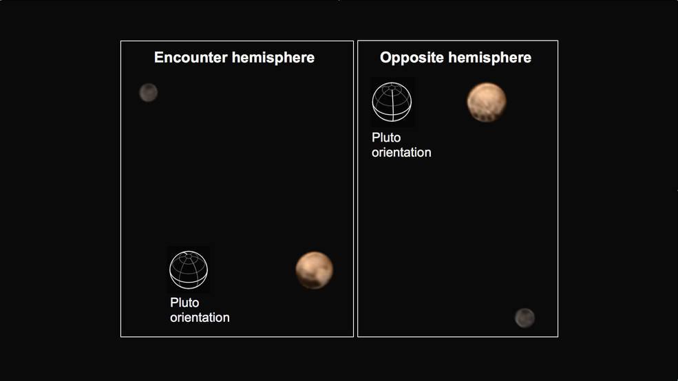 تصویر جدید پلوتو و قمرش شارون در دو نمای مختلف که توسط فضاپیمای افق های نو به ثبت رسیده است.