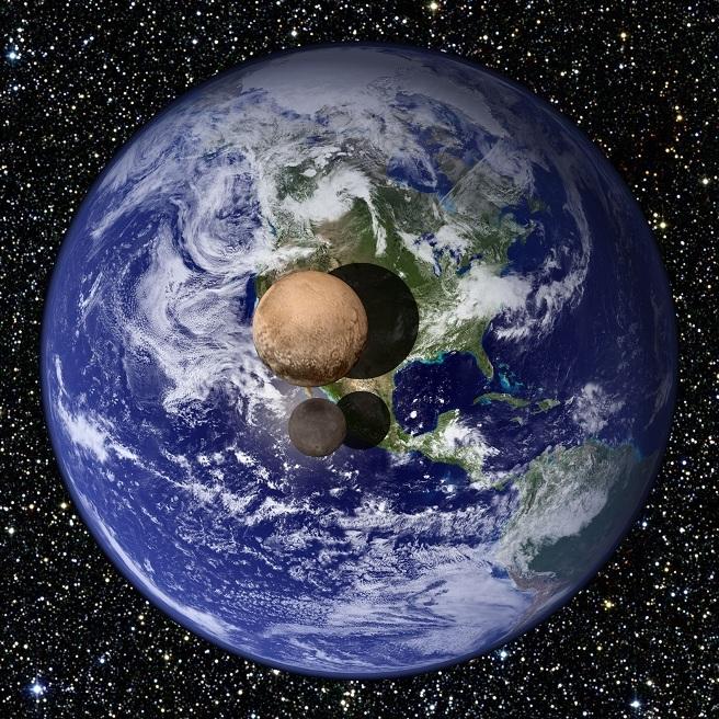 در این عکس مقایسه ای فضاپیمای افق های نو، قطر پلوتو ۲۳۷۰ کیلومتر(۱۸.۵% زمین) ، و قطر شارون هم ۱۲۰۸ کیلومتر ( ۹.۵% زمین) محاسبه شده است.