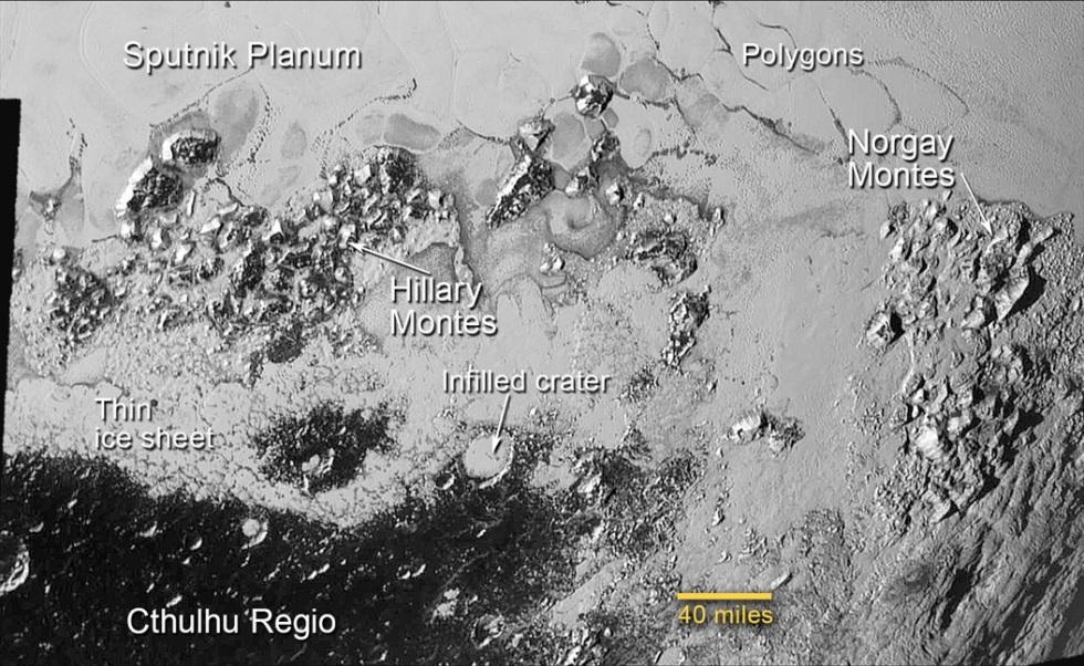 """تصویری از لایه های یخ و کوه در منطقه ی جنوبی دشت """"اسپوتنیک"""" بر سطح پلوتو"""