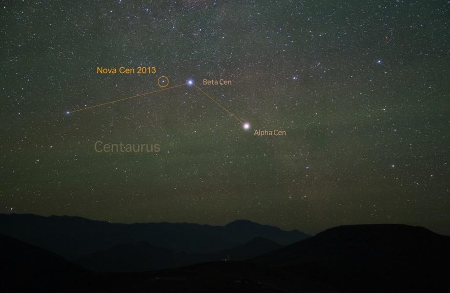 تصویری از موقعیت نواختر قنطورس 2013 در آسمان