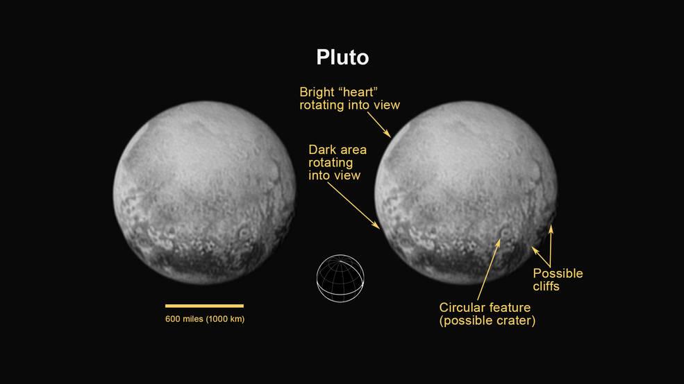 تصویری جدید از پلوتو که در تاریخ 11 جولای 2015 فضاپیمای افق های نو از فاصله ی 4 میلیون کیلومتری تا این سیاره ی کوتوله ثبت کرده است.