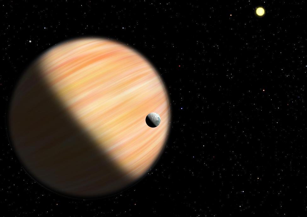تصویری هنری از سیاره ی غول گازی که با روش ریزهمگرایی گرانشی کشف شده است.