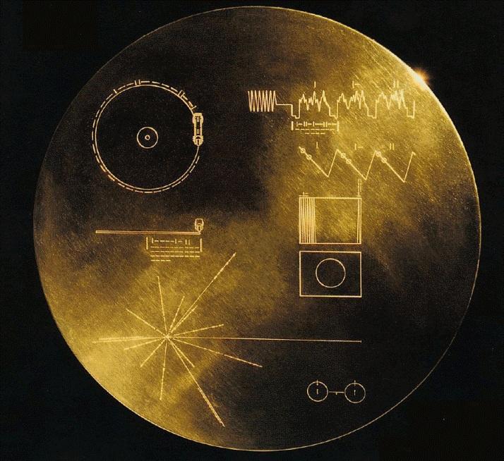 دیسک طلایی ویجر حاوی ۱۱۶ تصویر و چندین پیام صوتی به 55 زبان گوناگون دنیا از جمله فارسی برای موجودات فرازمینی است.