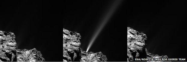 در این تصاویر سهگانهای که فضاپیمای روزتا از دنبالهدار با فاصلهی ۱۸ دقیقهای گرفته ظهور و ناپدیدشدن یخهای بخار شده را می بینید.