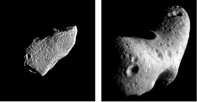 تصویر سمت راست، سیارک اروس است که فضاپیمای نییر از فاصله 200 کیلومتری تصویر آن را گرفته است. حفره بالایی در حدود 5 کیلومتر قطر دارد. این فضاپیما حدود یک سال دور اروس چرخید و در سال 2001 بر روی آن فرود آمد.تصویر سمت چپ، سیارک گاسپرا هست که توسط فضاپیمای گالیله گرفته شده است. قطر کوچکترین حفره آن 300 متر است.