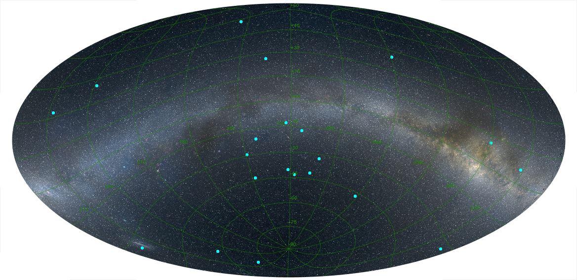 نقاط آبی پراکندگی پرتوهای گاما را نشان می دهد، تقریباً در مرکز تصویر میتوانید حلقهی کشف شده شامل ۹ انفجار پرتوهای گاما را مشاهده کنید.