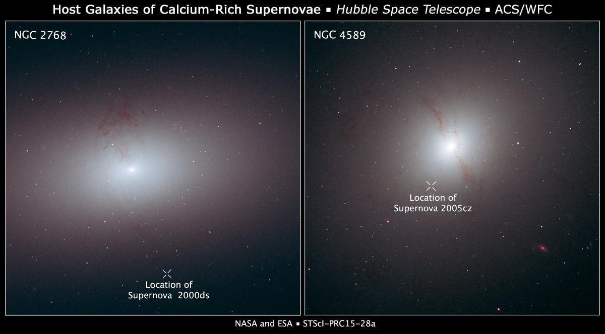 تصویری از دو ابرنواختر ترد شده به دور از کهکشان های NGC 4589 و NGC 2768