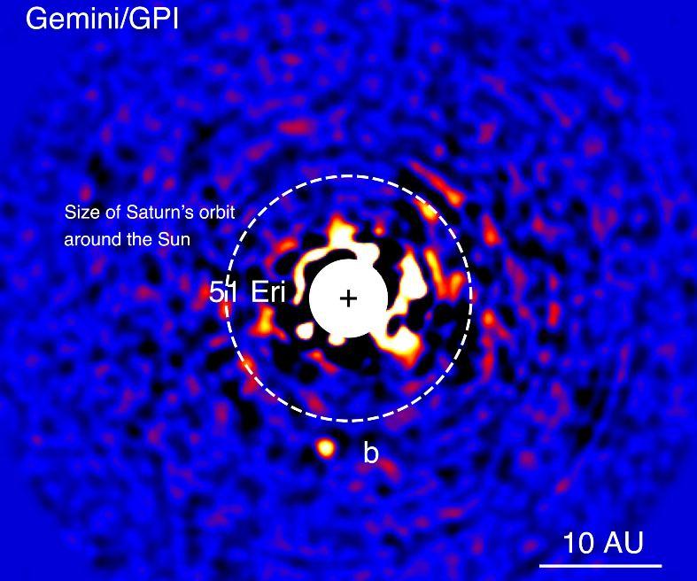 عکسی از منظومه ی سیاره ای 51 Eridani b که توسط تصویرگر سیاره ای جمینی ثبت شده است.
