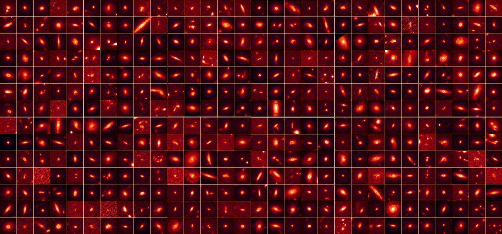 تصاویر تلسکوپ فضایی هرشل از بخشی از کهکشان های بررسی شده در این پژوهش