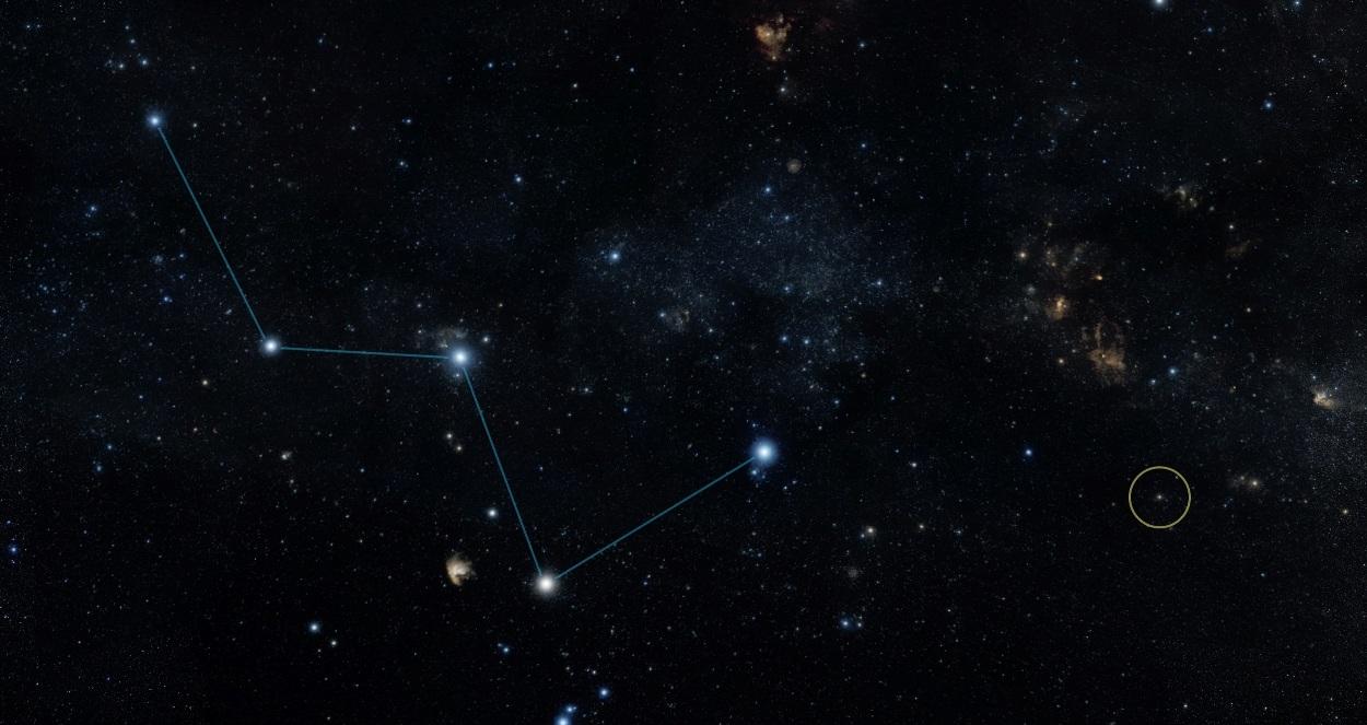 موقعیت ستاره ی تازه کشف شده در نمایی از صورت فلکی ذات الکرسی