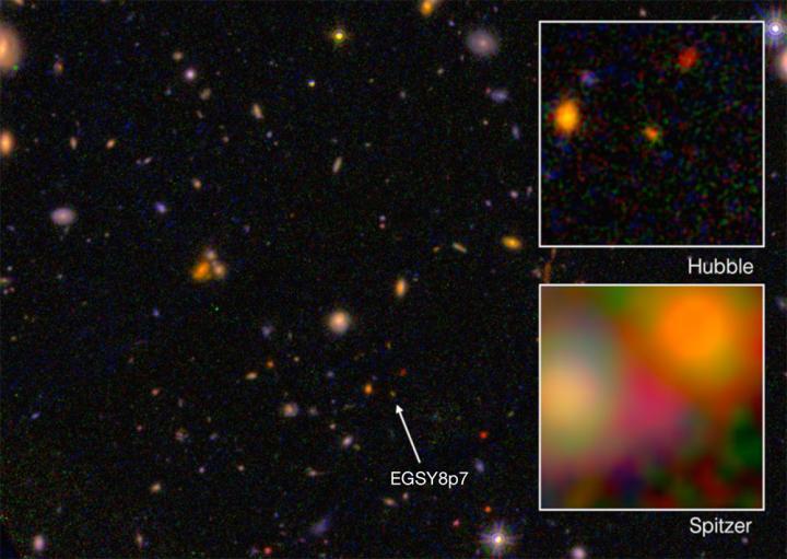 تصویری از کهکشان EGS8p7 ، در نمایی از تلسکوپ هابل و تلسکوپ اسپیتزر