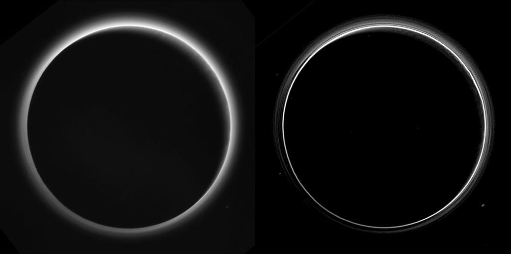 دو نگارش گوناگون از عکسی که فضاپیمای افق های نو حدود ۱۶ ساعت پس از گذشتن از کنار پلوتو، از فاصله ی ۷۷۰ هزار کیلومتری، با نگاهی به پشت سر، از این سیاره ی کوتوله گرفته بود. زاویه ی گام تصویر (زاویه ی خورشید-فضاپیما-پلوتو) ۱۶۶ درجه بود. شمال پلوتو بالای تصویر است و خورشید از بالا، سمت راست بر آن تابیده. این عکس ها بسیار باکیفیت تر از عکس هاییست که اندکی پس از رویارویی ۱۴ جولای دریافت و منتشر شدند و به شیوه ی دیجیتالی فشرده شده بودند. این عکسها همچنین جزییات تازه تری را هم آشکار کرده اند. نگارش سمت چپ، پردازش کمی دارد ولی نگارش سمت راست به گونه ای ویژه پردازش شده تا لایه های جداگانه و پرشمار ریزگردهای درون جو پلوتو را آشکار کند. در نگارش سمت چپ، جزییات کوچک سطح پلوتو روی هلال باریک و آفتاب-گرفته ی آن را هم می توانیم از لابلای ریزگردها ببینیم. رگه های نازک و همراستایی که در این مه ریزگردی دیده می شود می توانند پرتوهای شفقی باشند -سایه هایی که ناهمواری های سطحی پلوتو، مانند کوه ها، بر ریزگردها انداخته اند. روی زمین هم پس از غروب خورشید پشت کوه ها، می توانیم پرتوهای شفقی را در آسمان ببینیم.