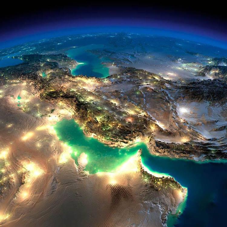 نمایی از ایران و خلیج فارس