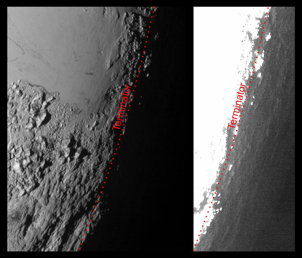 این عکسِ فضاپیمای افق های نو از پلوتو که در اینجا به دو شیوه ی متفاوت پردازش شده، به ما نشان می دهد که ریزگردهای جوی روشن پلوتو که در فراز بالای جو آنند چگونه یک شفق تاریک و روشن پدید می آورند که باعث می شود سطح آن پیش از طلوع آفتاب و پس از غروب، کمی روشن شود. این ساز و کار جوی به دوربین های حسمند افق های نو اجازه داد تا جزییاتی را در سمت شب پلوتو ببینند که در حالت عادی دیده نمی شدند. چارچوب سمت راست که پردازشی از همان چارچوب سمت چپ است، به شدت روشن شده تا ناهمواری های کوچکی در آن سوی خط پایانگر که از نور ریزگردهای جوی روشن شده اند را هم نشان دهد. خط پایانگر یا سایهمرز خطیست که روز و شب را جدا می کند.